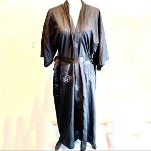 Vintage embroidery dragon black robe pockets med